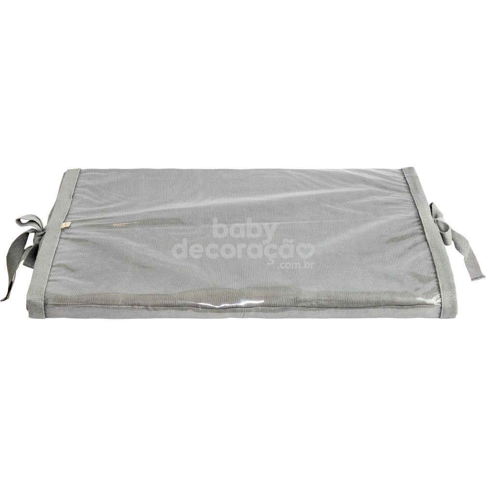 Trocador Para Bebê Espuma Tricot Meia Malha Cinza