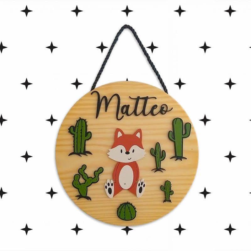 Porta Maternidade Madeira Natural