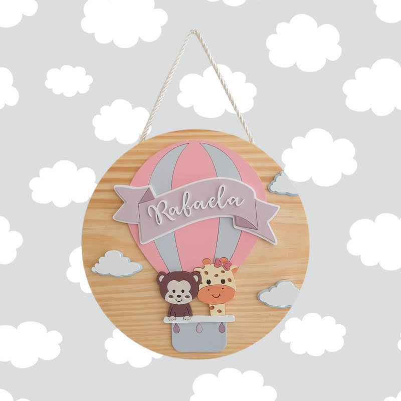 Porta Maternidade Madeira Natural Balão de Ar