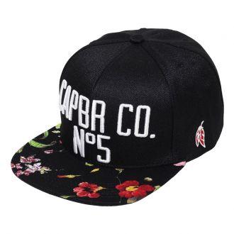 Boné CAPBR Aba Reta SN Brand Floral N.5 Preto