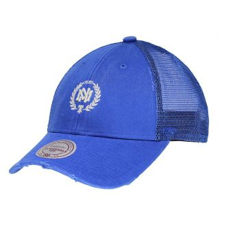 Boné Mitchell & Ness Aba Curva SN Brand Washed Trucker Azul