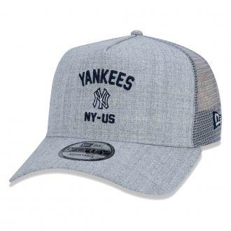 Boné New Era Aba Curva 940 SN MLB NY Yankees AF Trucker State Cinza