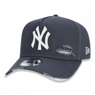 Boné New Era Aba Curva 940 ST MLB NY Yankees AF Destroyed Colors Cinza