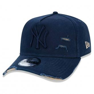 Boné New Era Aba Curva 940 ST MLB NY Yankees AF Destroyed Tonal Azul