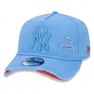 Boné New Era Aba Curva 940 ST MLB NY Yankees AF Destroyed Tonal Azul Claro