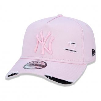 Boné New Era Aba Curva 940 ST MLB NY Yankees AF Destroyed Tonal Rosa