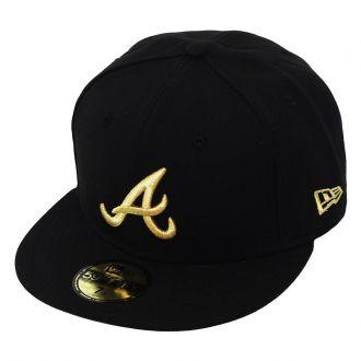 Boné New Era Aba Reta 5950 MLB Atlanta Basic Gold Preto