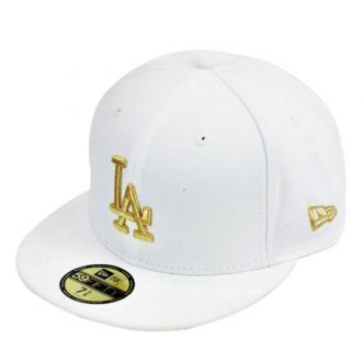 Boné New Era Aba Reta 5950 MLB Los Angeles Basic Gold Branco