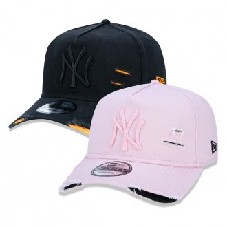 Kit 2 Boné New Era Aba Curva 940 MLB NY Yankees Destroyed Casal