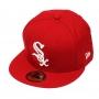 Boné New Era Aba Reta 5950 MLB Chicago Sox Basic Colors Vermelho