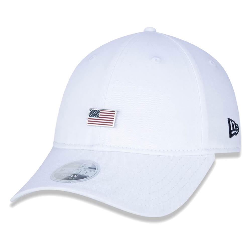 Boné New Era Aba Curva 920 ST Brand Flag Pingente EUA Branco