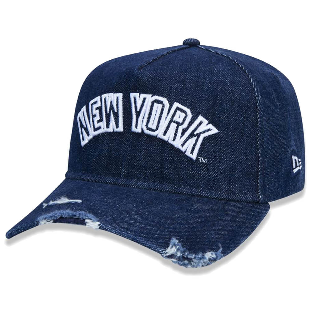 Boné New Era Aba Curva 940 SN MLB NY Yankees AF Destroyed Denim