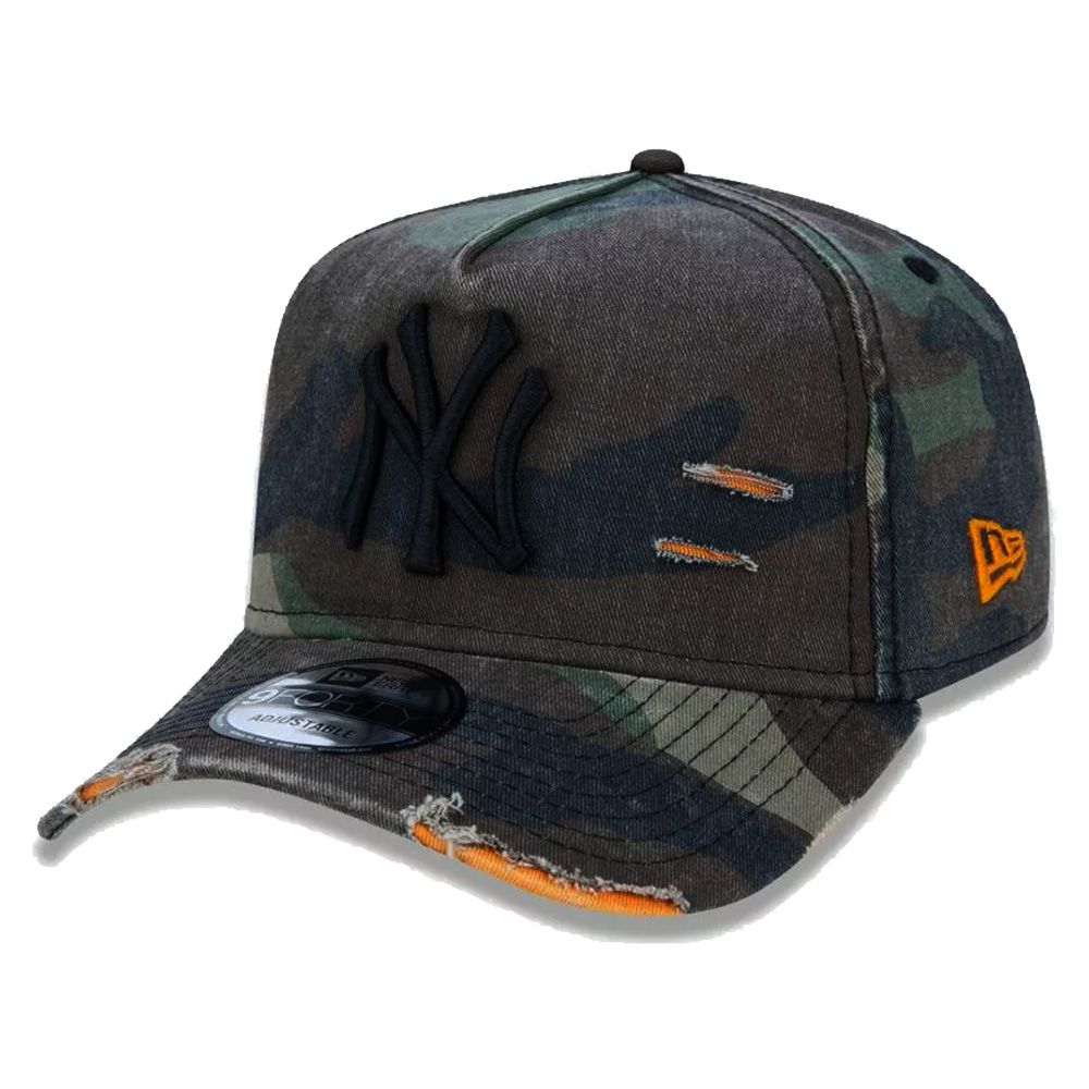 Boné New Era Aba Curva 940 ST MLB NY Yankees AF Destroyed Camuflado