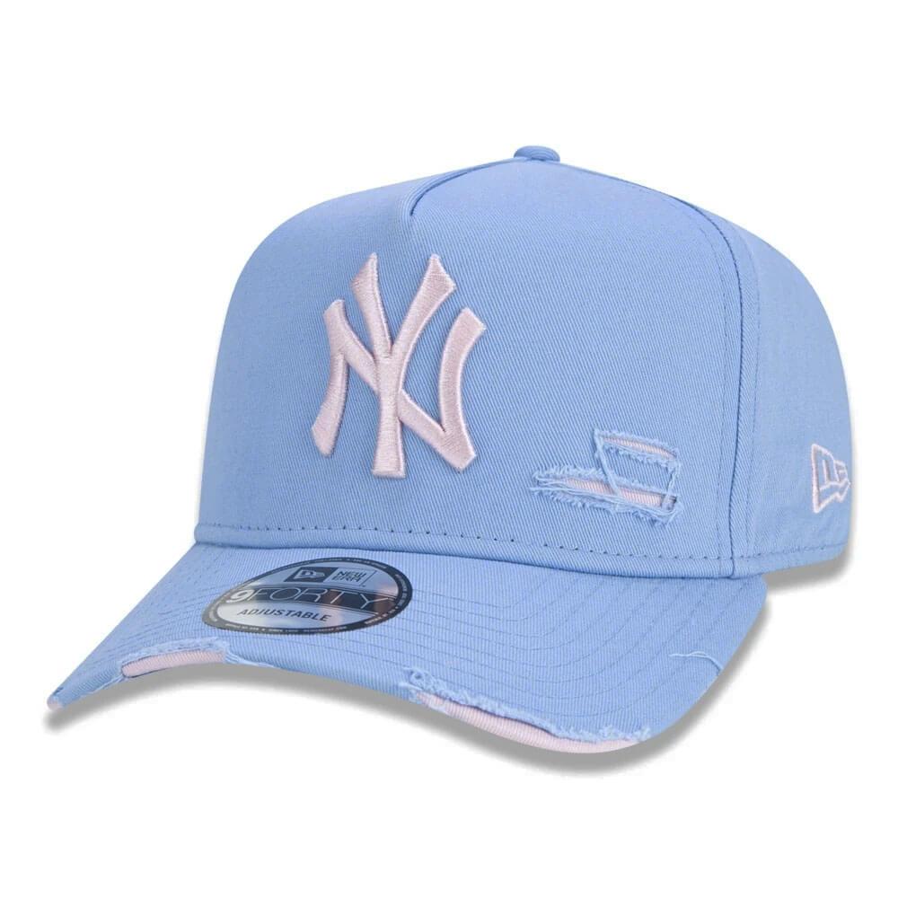 Boné New Era Aba Curva 940 ST MLB NY Yankees AF Destroyed Colors Azul Claro