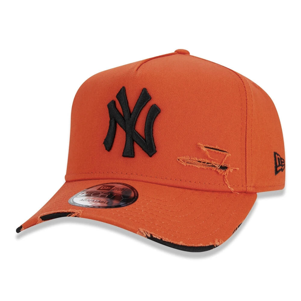 Boné New Era Aba Curva 940 ST MLB NY Yankees AF Destroyed Colors Laranja