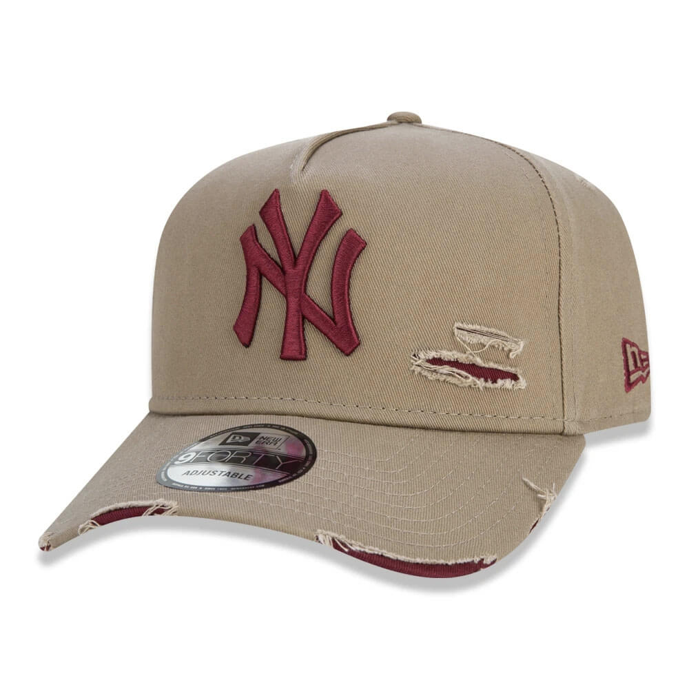 Boné New Era Aba Curva 940 ST MLB NY Yankees AF Destroyed Colors Marrom Claro