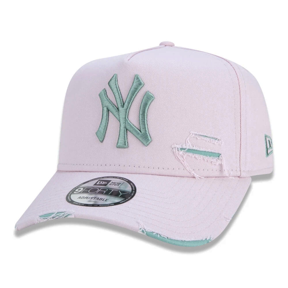 Boné New Era Aba Curva 940 ST MLB NY Yankees AF Destroyed Colors Rosa