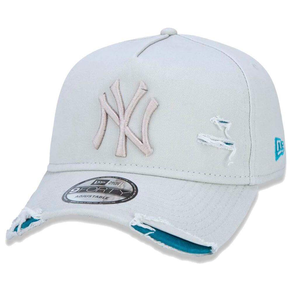 Boné New Era Aba Curva 940 ST MLB NY Yankees AF Destroyed Tonal Bege