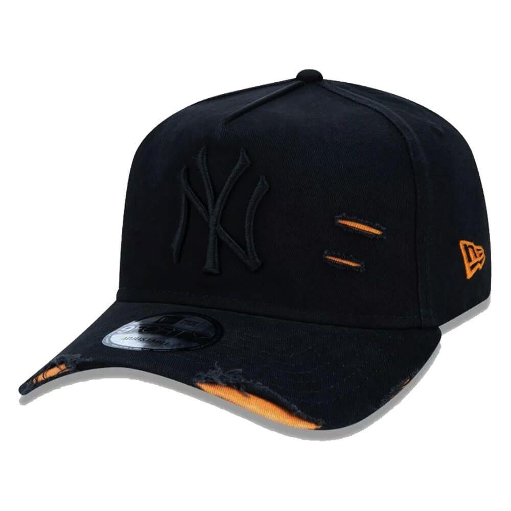 Boné New Era Aba Curva 940 ST MLB NY Yankees AF Destroyed Tonal Preto