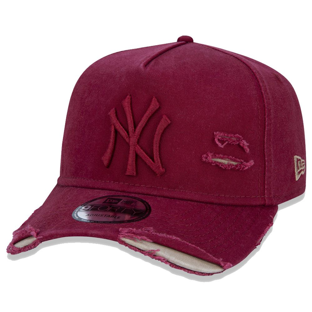 Boné New Era Aba Curva 940 ST MLB NY Yankees AF Destroyed Tonal Vinho