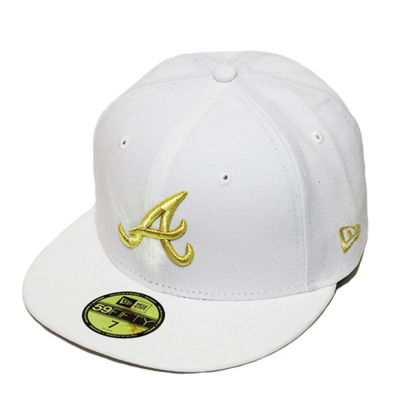 Boné New Era Aba Reta 5950 MLB Atlanta Basic Gold Branco