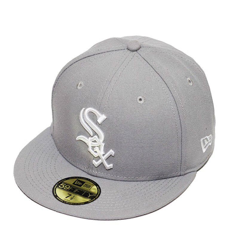 Boné New Era Aba Reta 5950 MLB Chicago Sox Basic Colors Cinza