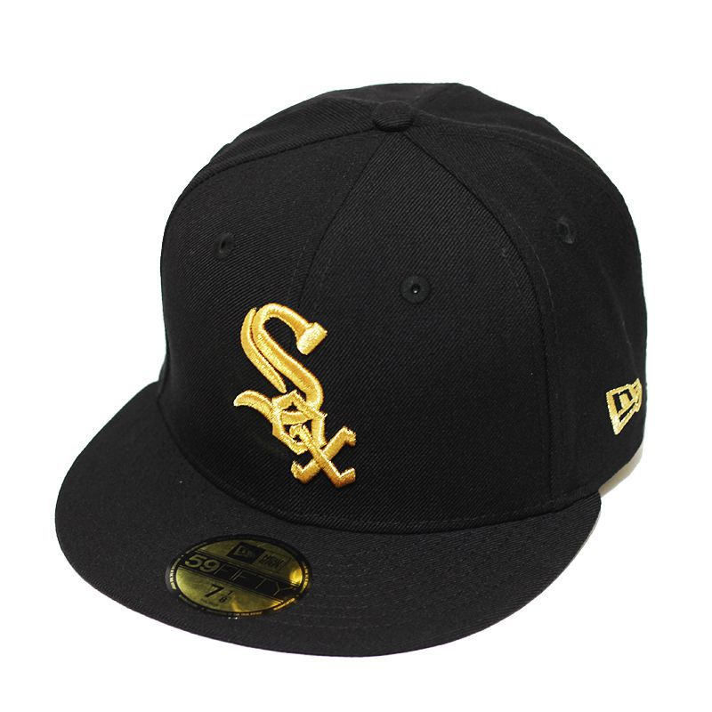 Boné New Era Aba Reta 5950 MLB Chicago Sox Basic Gold Preto