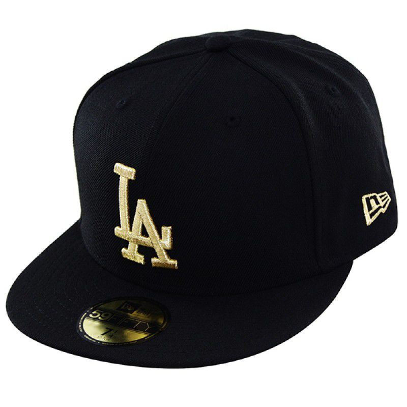 Boné New Era Aba Reta 5950 MLB Los Angeles Basic Gold Preto