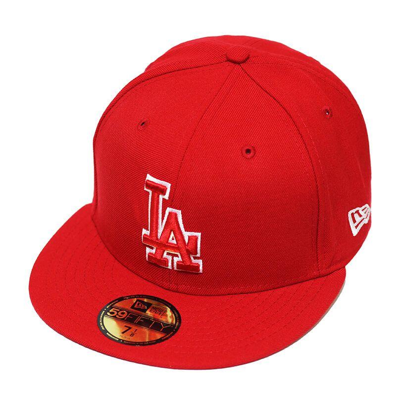 Boné New Era Aba Reta 5950 MLB Los Angeles Basic Outline Vermelho