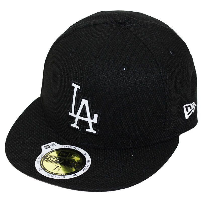 Boné New Era Aba Reta 5950 MLB Los Angeles Diamond Reflect Preto