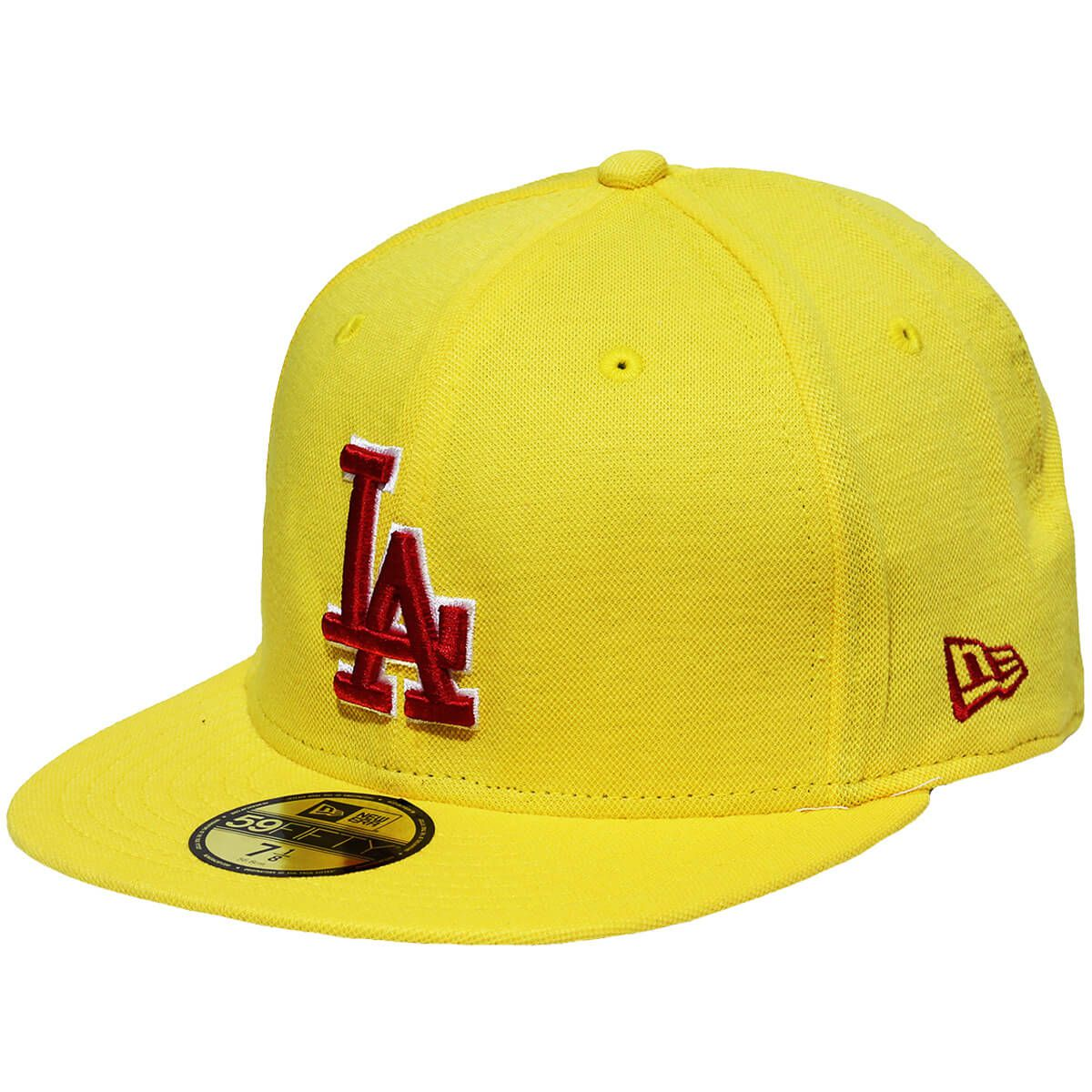 Boné New Era Aba Reta 5950 MLB Los Angeles Polo Piquet Amarelo