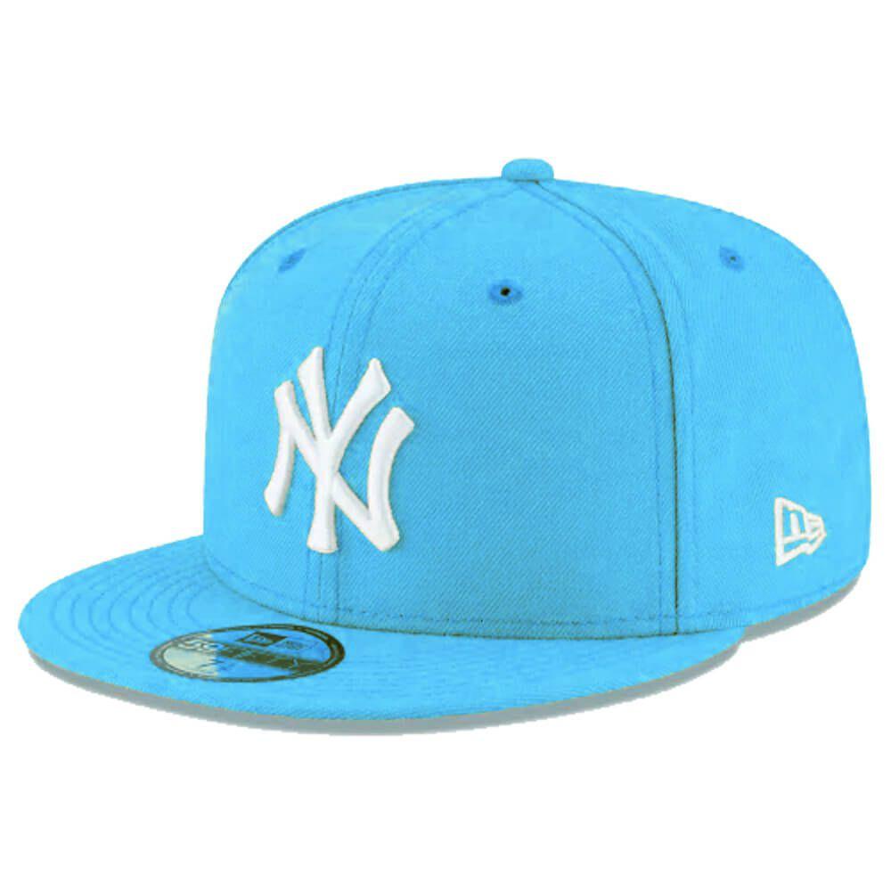 Boné New Era Aba Reta 5950 MLB NY Yankees Basic Colors Azul Claro