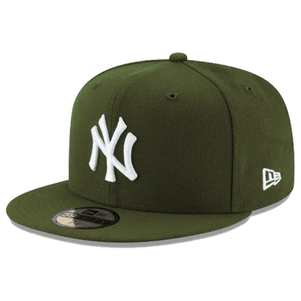 Boné New Era Aba Reta 5950 MLB NY Yankees Basic Colors Verde Musgo