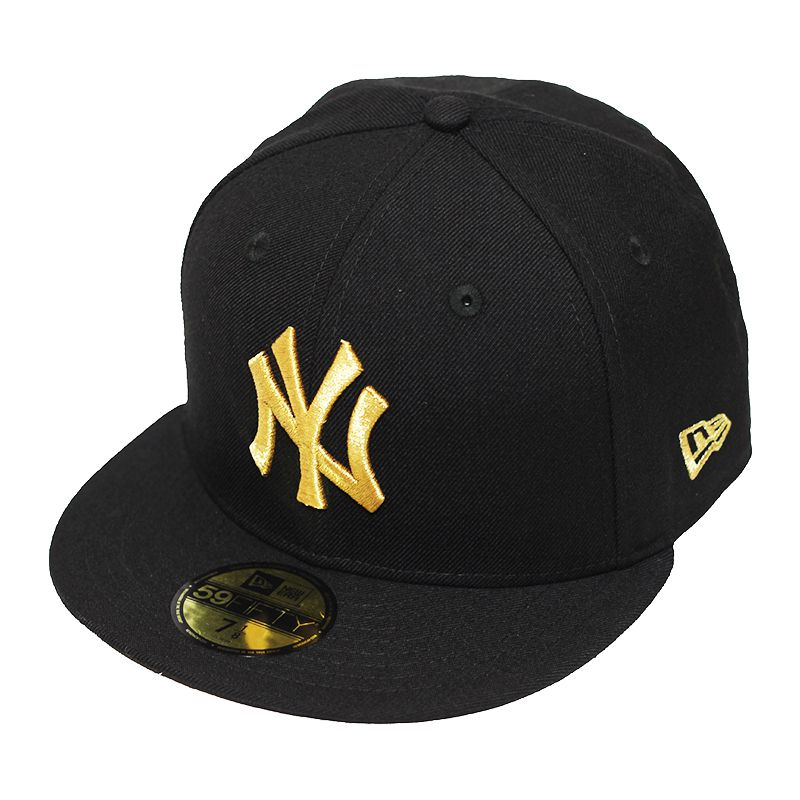 Boné New Era Aba Reta 5950 MLB NY Yankees Basic Gold Preto