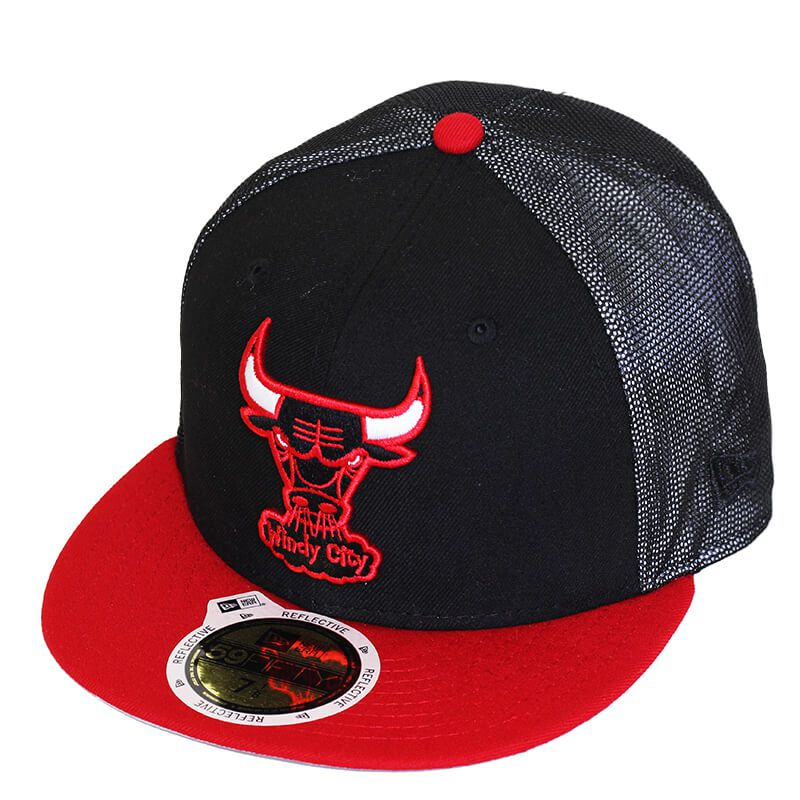 Boné New Era Aba Reta 5950 NBA Chicago Bulls Mesh Out