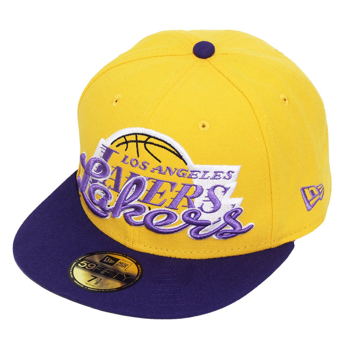 Boné New Era Aba Reta 5950 NBA Lakers Script Down