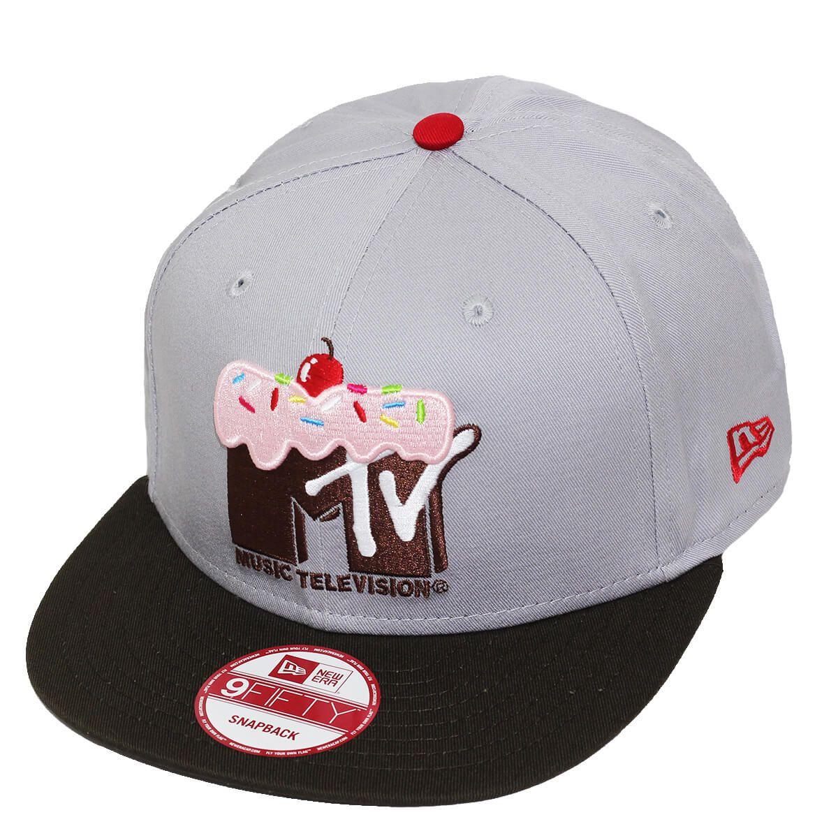 Boné New Era Aba Reta 950 SN MTV Logo Cupcake Cinza