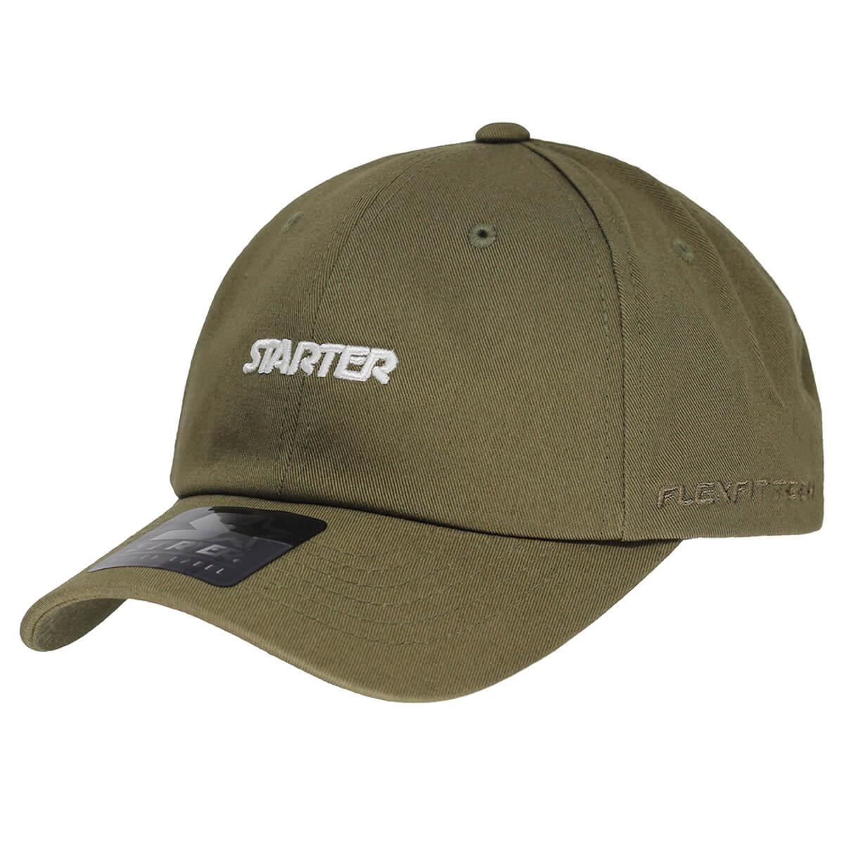 Boné Starter Aba Curva Strapback Script White [DAD HATS] Verde Musgo