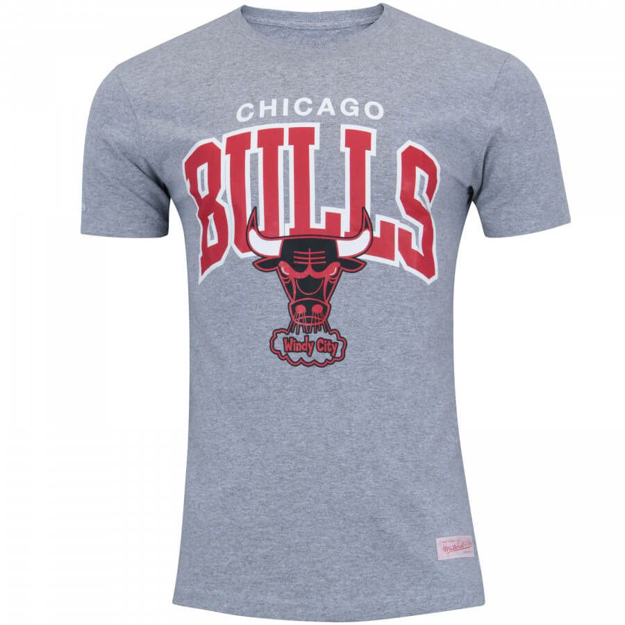 Camiseta Mitchell & Ness NBA Chicago Bulls Team Arch Cinza