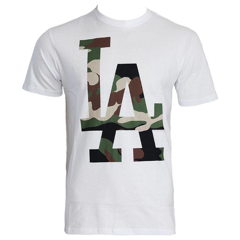 Camiseta New Era MLB Los Angeles Logo Camuflado Branco