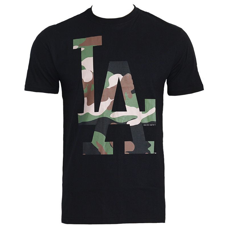Camiseta New Era MLB Los Angeles Logo Camuflado Preto