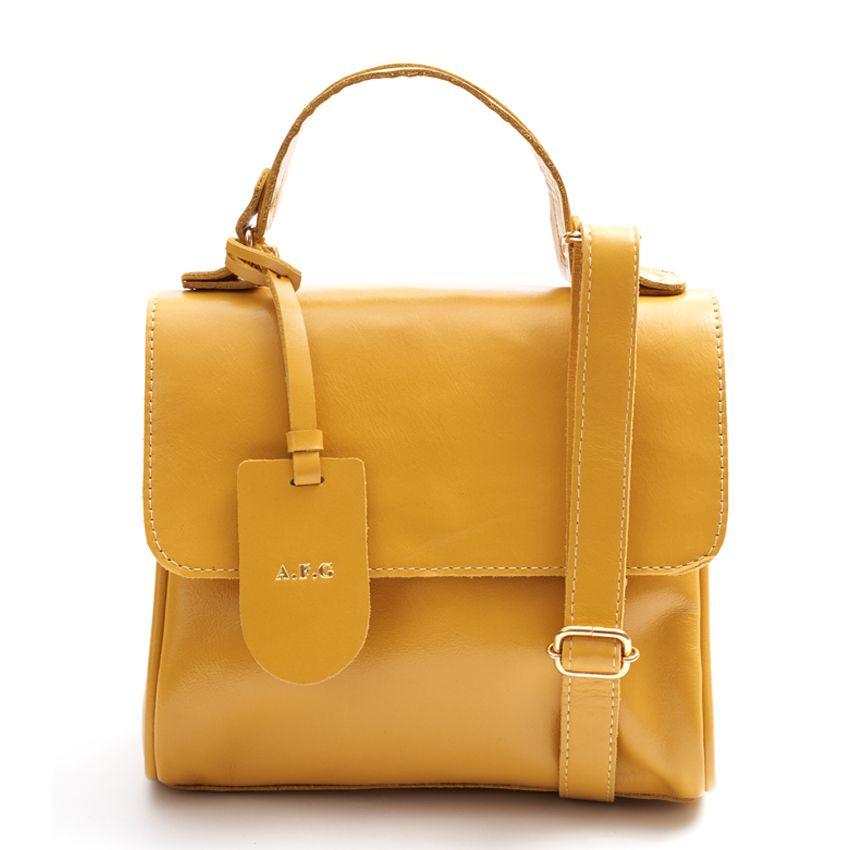Bolsa Couro Pequena Chloe Mostarda