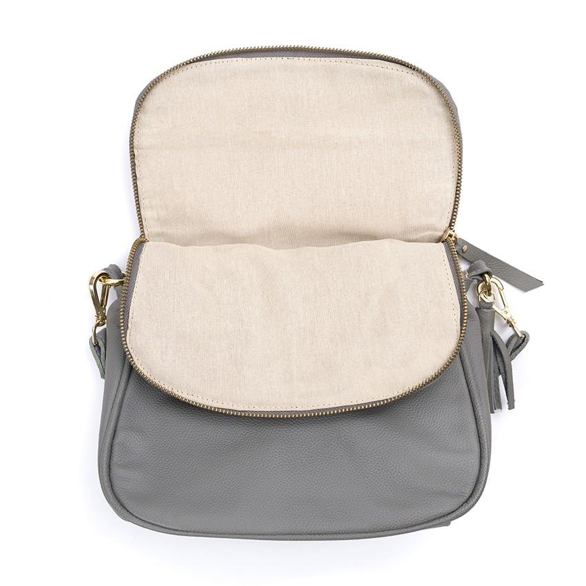 Bolsa Couro Pequena Soho Mini Cinza