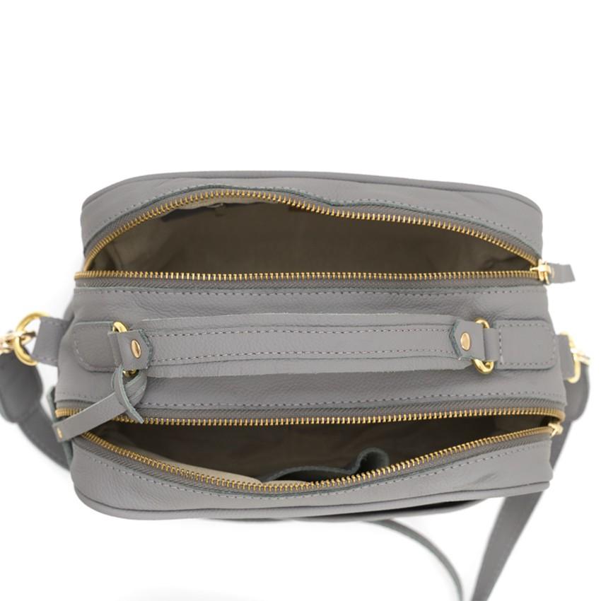 Bolsa de Couro Cinza Vivi Bag
