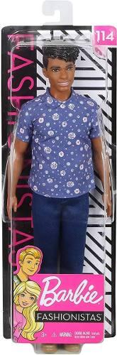 Boneco Ken Barbie Fashionista 114 Negro Florais Formais 2019