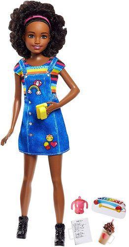 Boneca Barbie Skipper Babysitters Negra Babá Set Café 2019