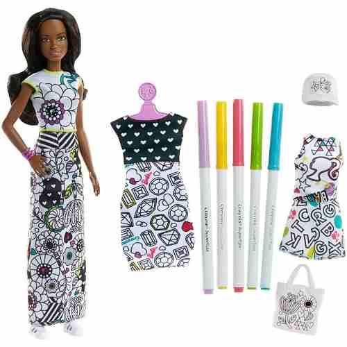 Boneca Barbie Top Negra Crayola Pintar Vestido Com Canetinha