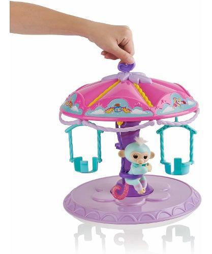 Carrossel Agarradinho Fingerlings Com 1 Macaco Bebê Azul Top