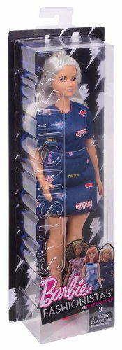 Boneca Barbie Fashionista 63 Cabelo Branco Roupa Top