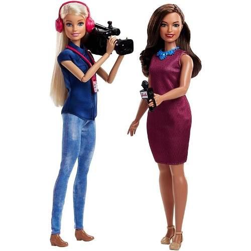 2 Bonecas Barbie 2019 Repórter E Câmera Tv News Raras
